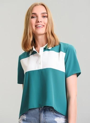 Agenda Yaka Detaylı Bluz Yeşil